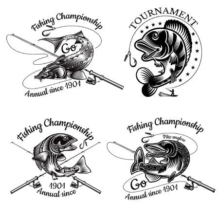 Zestaw etykiet wędkarskich z łukiem rybnym Pike Sturgeon Salmon Perch ze skrzyżowaną wędką w grawerowanym stylu. Logo dla wędkarstwa, mistrzostwa i klubu sportowego na białym