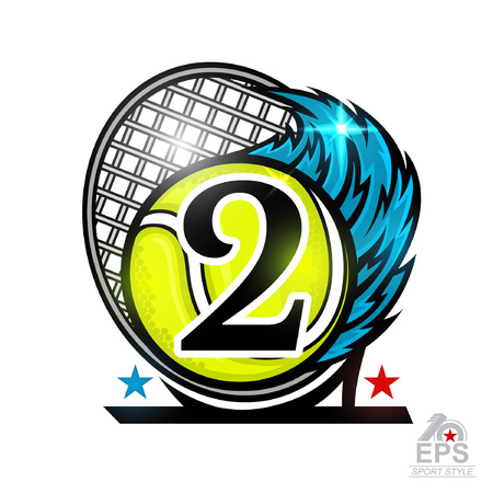 Racquet and tennis ball with number two or second place. Vector sport logo isolated on white for any team or competition