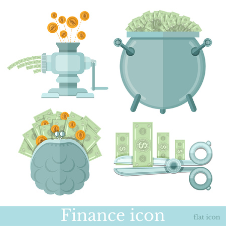 Set of business flat icons on white. Pouch with banknotes and gold coins, caldron with money and scissors cut banknotes, coins fall into meat grinder and out banknotes Illustration