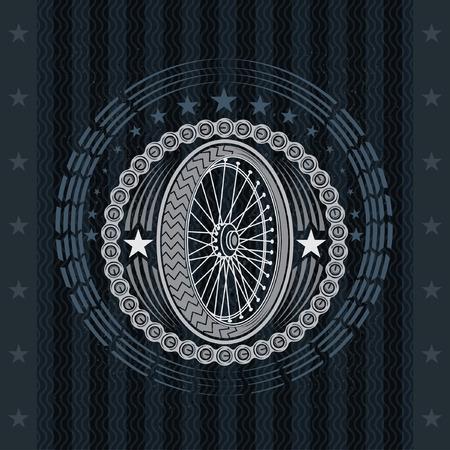 Motorbike or bike wheel side view with round frame from chain. Vintage motorcycle design on blackboard Иллюстрация