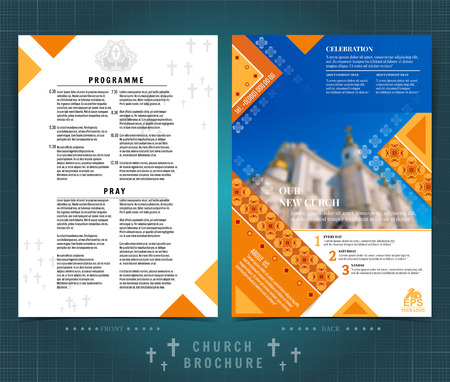 Religion two sided brochure or flyer template design with church building blurred photo ellements. Mock-up cover in yellow vector modern style  イラスト・ベクター素材