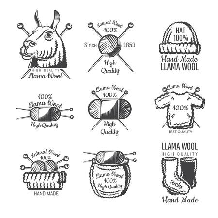 Etikettenset aus Lamawolle mit Garn. Logo für gestrickte Handwerkswebsite oder -geschäft