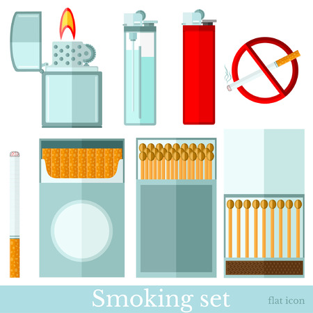 Set of smoking equipments flat icons on white. Cigarette, matches, pack of cigarette, lighter and cigarette lighter