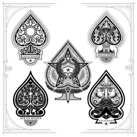 Set di asso di picche con motivo a ricciolo forgiato, viso con barba, stella con torcia. Stampe isolate su bianco Vettoriali