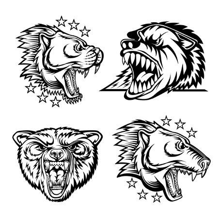 Set of beast head with bared teeth isolated on white. Black on white