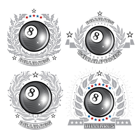 Set of black billiard ball in center of silver wreathes. Sport logo for any curling game or championship