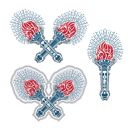 Set of crossed torches in engraving line style isolated red and blue color on white