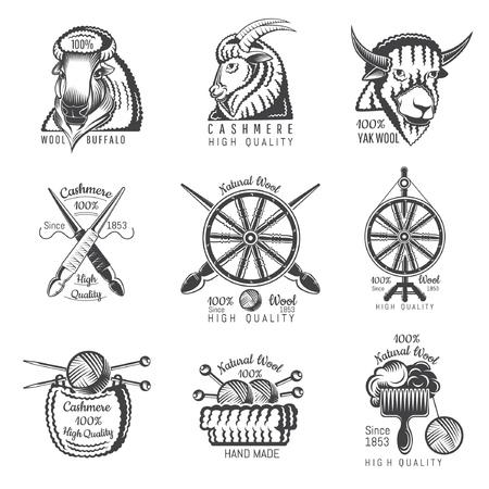 Ensemble d'étiquettes de laine de buffle, de yak, de chèvre avec du fil. Logo pour site ou entreprise lié à l'artisanat tricoté