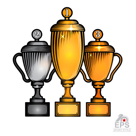 Set of three cups with first second and third place on top. Vector sport logo isolated on white for any team or competition Stock Illustratie