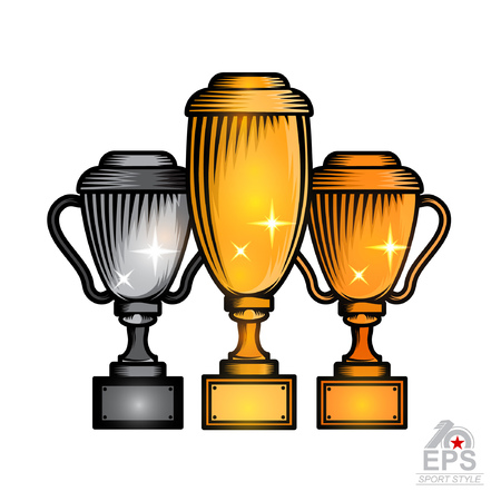 Set of three cups with first second and third place. Vector sport logo isolated on white for any team or competition