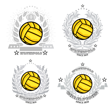 Set of water polo ball in center of silver wreath isolated on white. Sport logo for any teaw Vectores