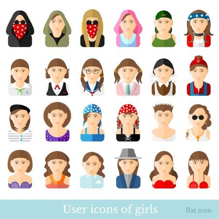 Zestaw ikon kobiet w płaskich różnych zawodach w wieku i stylu na białym tle Ilustracje wektorowe