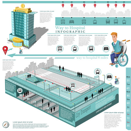 Social infographic map of city transport comunication and character young man on wheelchair isolated on white. way to hospital Vectores