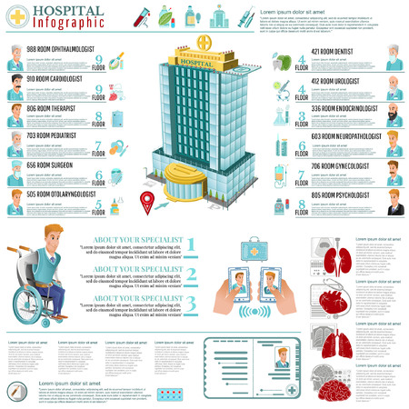 Social infographic of character young man on wheelchair examination with a doctor Illustration