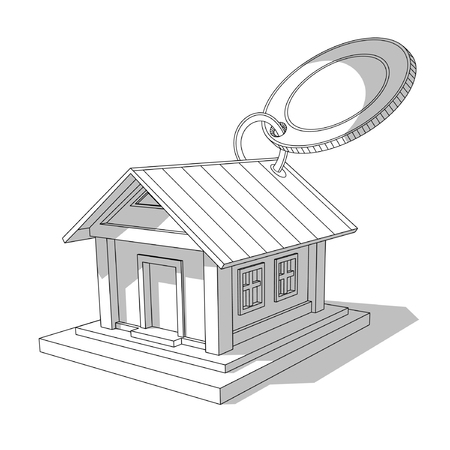 Sketch of Isometric image of private house with round tally isolated on white