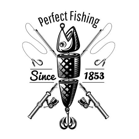 Spoon-bait fish with crossed fishing rods in engraving style. Logo for fishing or fishing shop on white Иллюстрация
