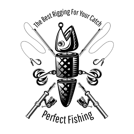 Spoon-bait fish with two hooks and crossed fishing rods in engraving style. Logo for fishing or fishing shop on white