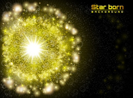 Star born in space with starry sky yellow background
