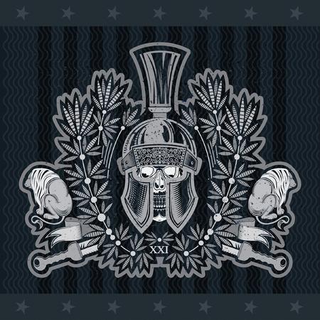 Skull in Spartan helmet front view with crossed sword between wreath and lions. Heraldic vintage label on blackboard