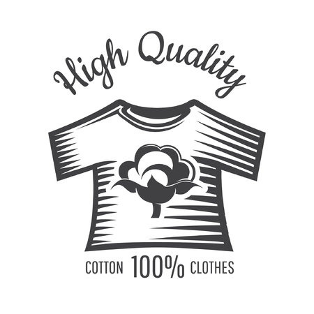 Silhouette of cotton plant in center of shirt isolated on white. Logo for textile, fabric, cloth, or business Vettoriali
