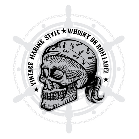 Skull with bandana in engraving style in center of steering wheel. Vector marine design elements on white Illustration