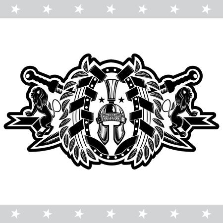 Spartan helmet front view with crossed swords between lions and oval laurel wreath. Heraldic vintage label on white