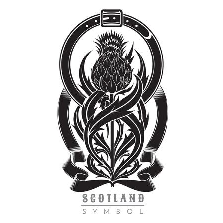 Silueta de cardo con patrón de hojas y marco de cinturón. Símbolo del elemento de diseño de Escocia negro sobre blanco