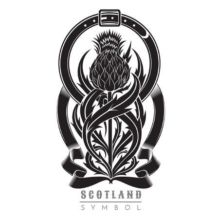 Silhouette of thistle with leaf pattern and belt frame. Symbol of Scotland design element black on white