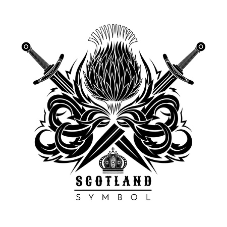 Silhouette of thistle with leaf pattern and cross swords. Symbol of Scotland design element black on white 向量圖像