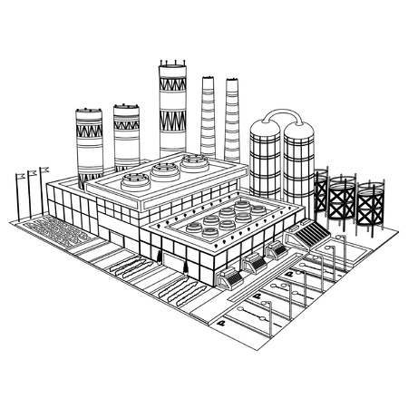 Sketch building of factory or plant with smokestacks yards tank and buildings on white