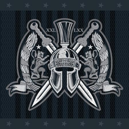 Spartan helmet front view with crossed swords between lions and laurel branches. Heraldic vintage label on blackboard