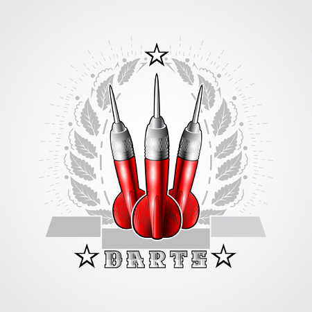 Three red darts in center of silver wreath. Sport logo for any darts game or championship