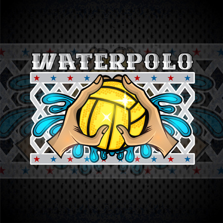 Two hand hold water polo ball and water splash and net behind. Vector sport logo on blackboard for any women team or competition