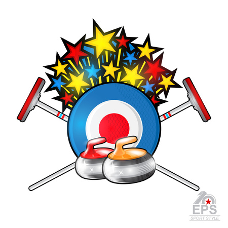 Stars fly out from curling target with red and yellow stones. Sport logo for any team or championship on white