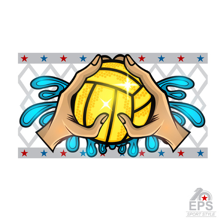 Two hand hold water polo ball between water splash. Vector sport logo on white for team or competition