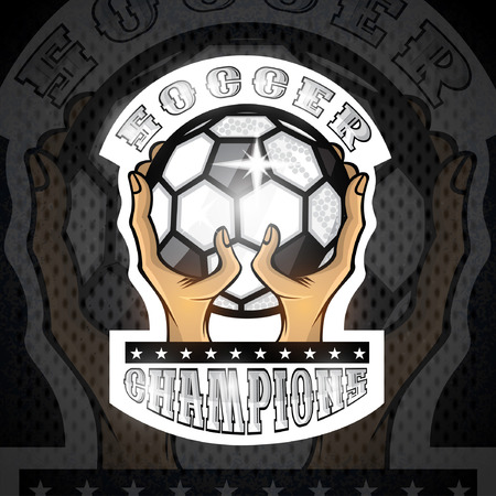 Two hands hold ball with text soccer. Sport logo for any football or soccer team Illustration