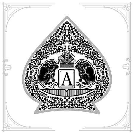 Two lions with crown in center of floral pattern inside ace of spades form. Marine design playing card element black on white