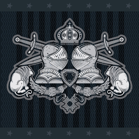 Two knight helmets side view in center with crossed swords between lions. Heraldic vintage label on blackboard