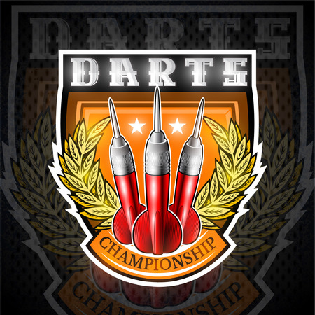 Three red darts between golden wreath in center of shield. Sport logo for any darts game or championship Vectores