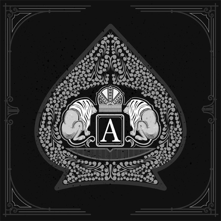 Two lions with crown in center of floral pattern inside ace of spades form. Vintage design playing card element white on blackboard Illustration