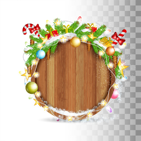 Snowy fir tree branch with cones, balls, candy and gerland lay on top of round wood border. Christmas illustration on white Stock Illustratie