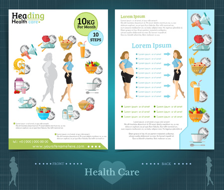 Two sided brochure or flayer template design with girl loss weight and health care. Mock-up cover vector modern flat style
