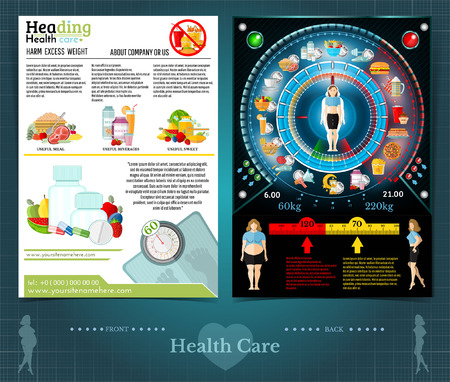Two sided brochure or flayer template design with loss weight and health care for woman. Clock of health care and useful food. Mock-up cover vector modern flat style Ilustração