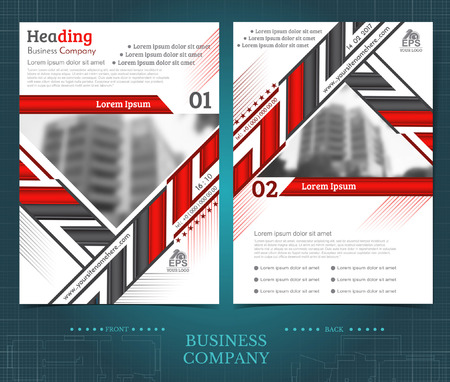 Two sided brochure or flayer template design with blurred photo of buildings. Mock-up cover in black and red vector modern style Ilustrace