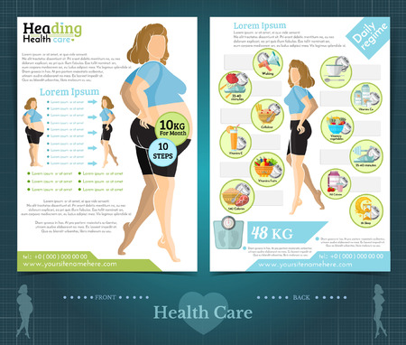 Two sided brochure or flayer template design with girl loss weight and health care. Mock-up cover vector flat style