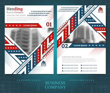 Two sided brochure or flayer template design with blurred photo of buildings. Mock-up cover in blue and red vector modern style