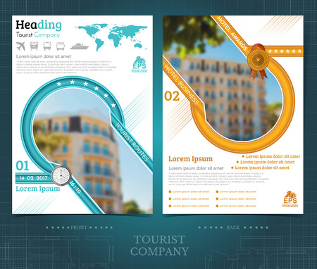 Two sided brochure or flayer template design with exterior blurred color photo elements. Mock-up cover in blue-yellow vector modern style Ilustração