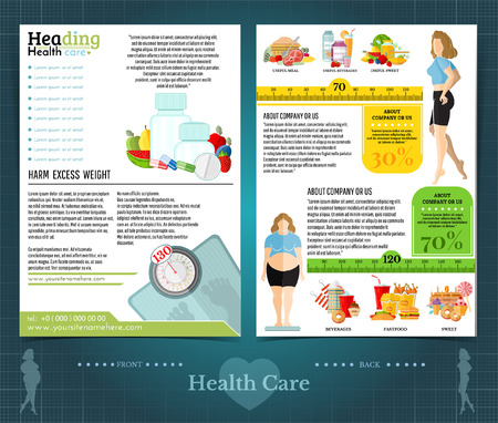 Two sided brochure or flayer template design with loss weight and health care for woman. Mock-up cover vector modern flat style Ilustração