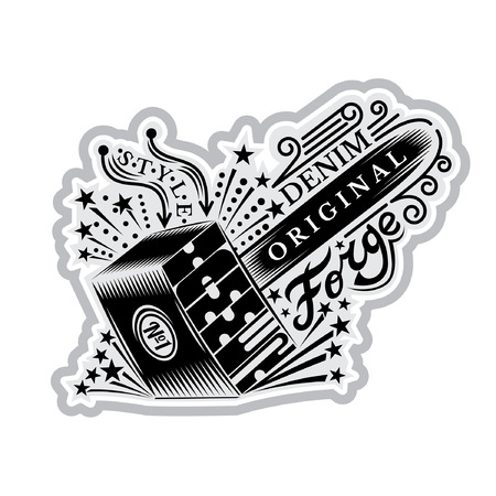 Vector element for t-shirt or print design with blacksmithing hammer with flying out sparkles Ilustração
