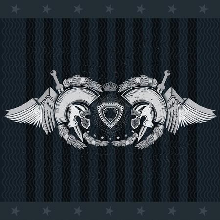 Two Spartan helmets between wings and laurel wreath. Heraldic vintage label on blackboard